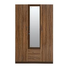 Anne 3 Door High Gloss Wardrobe with Mirror, Brown
