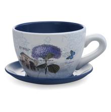 Garden Planter Mini Cup & Saucer- @home by Nilkamal, Indigo