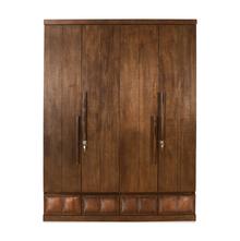David 4 Door Wardrobe - @home by Nilkamal, Dark Walnut
