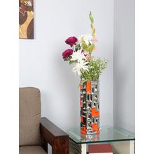 Flowers Delight Geometric Vase, Orange