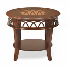 Pisces Side Table With Glass Top, Classic Walnut