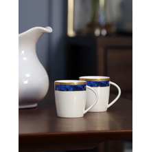 Ceramic Coffee Mug Set of 6, Blue & Gold