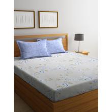 Floral & Creeper 250 cm x 274 cm Double Bedsheet, Grey