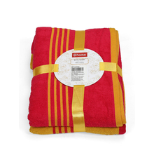 Bath Towel Set of 2, Mustard & Fushcia