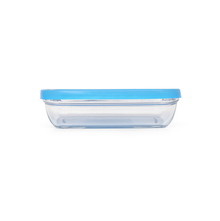 Duralex Rectangle Glass 370 ml Bowl with Blue Lid, Clear