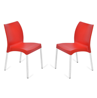Nilkamal Novella 07 without Arm & Cushion Chair Set of 2, Red