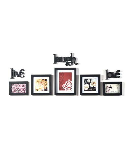 Live Laugh Love 5 Piece Combo Photo Frame, Black