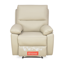 Leslie 1 Seater Sofa Manual Recliner, Cream