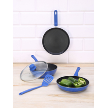 Nonstick Aluminium Cookware 5 Pieces Set, Indigo