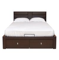 Triumph Queen Bed Liftable - @home Nilkamal,  dark walnut