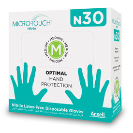 ANSELL MICRO-TOUCH N30 Powder & Latex Free Nitrile Gloves(Made in Malaysia) - Pack of 30 Pcs