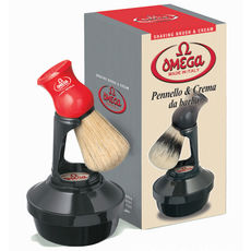 Omega 46065 Shaving Set with Brush, Holder, and Soap in Bowl - Made in Italy