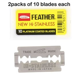 Feather Double Edge Razor Blades - 20 blades - Platinum Coated - Made in Japan