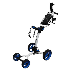 Axglo Flip N Go Four Wheel Ultra Compact Foldable Aluminium Golf Cart - White/Blue, 4