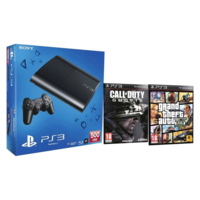 Sony PlayStation 3 (PS3) 500 GB with Call of Duty Ghosts, Grand Theft Auto V (Five) (Black)