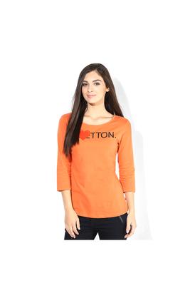 United Colors of Benetton Solid T Shirt, l,  orange