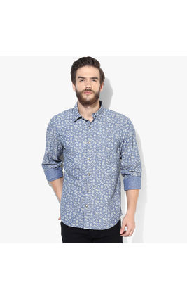 John Players Yarn Dyed Printed Casual Shirt, 42,  blue