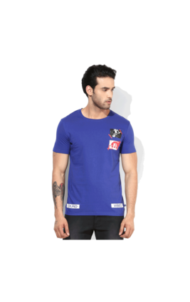 United Colors of Benetton Printed Round Neck T Shirt, m,  blue