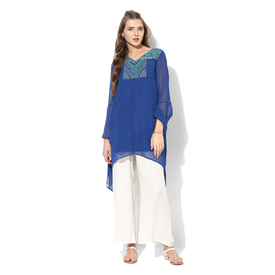 Global Desi Embroidered Polyester Tunic, m,  blue
