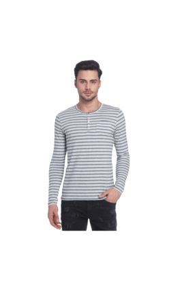Jack & Jones Striped Henley Neck T-Shirt, s,  off white