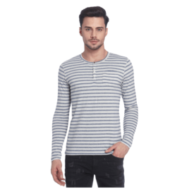 Jack & Jones Striped Henley Neck T-Shirt, s,  off white