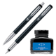 Parker Vector Standard Sets Fountain Pen & Ball Pen with Blue Quink Ink Bottle (Pack of 2)