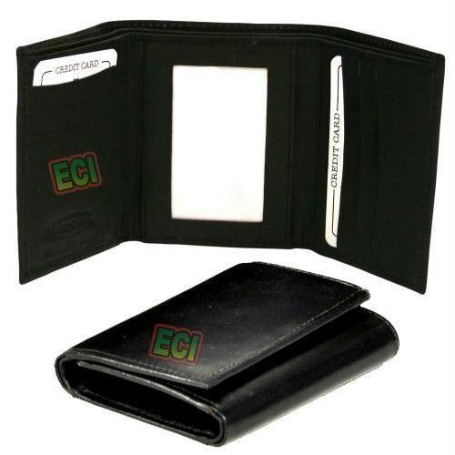 SuperDeals Leather Gents Black Purse Triple Fold Men s Wallet