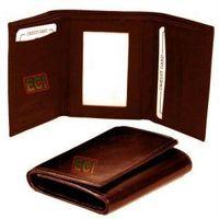SuperDeals Leather Gents Brown Purse Triple Fold Men's Wallet