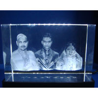 Personalized 3D effect Photo engraved Crystal Cube