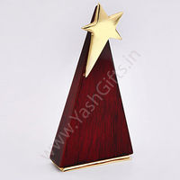 1 pc personalised Piano finish star trophy in Wood & Brass