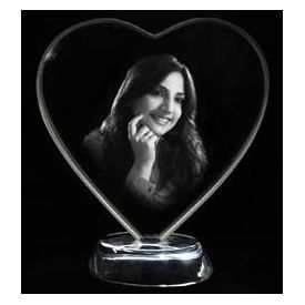 Personalized Photo Crystal Heart Couple - Small