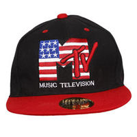 Capskart Snapback Fashion Cap with MTV Embroidery Black Red