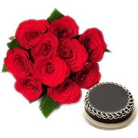 Red Roses with Cake - EXDFNP119