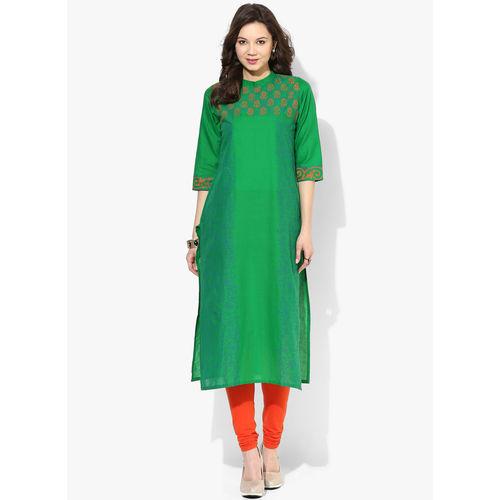Riya Printed Kurta,  green, s