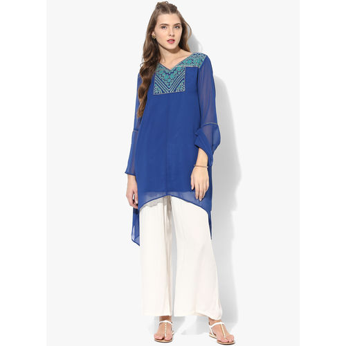 Global Desi Embroidered Polyester Tunic,  blue, xxl