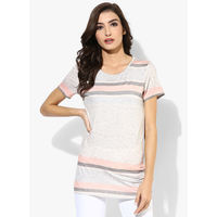 Dorothy Perkins Pastel Striped Tee,  grey, s