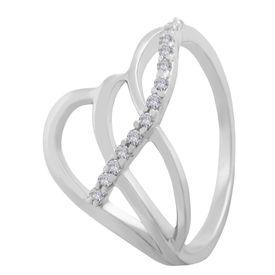 Marvelous White CZ Silver Finger Ring-FRL100