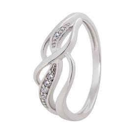 White CZ Silver Finger Ring-FRL009