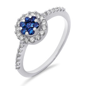 Blue & White Diamond Ring - AMR0800A