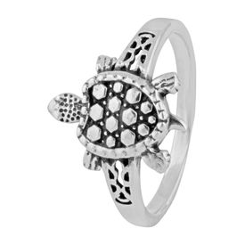 Tortoise Sterling Silver Finger Ring-FRL145