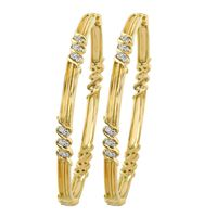 Swirl Filigree Diamond Bangles -RBA0027, vvs-gh, 18 kt