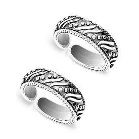 Oxidise Cutwork Silver Toe Ring-TR451