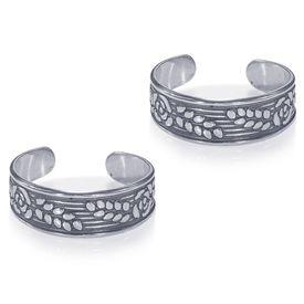 Oxidised Leaf Silver Toe Ring-TR456