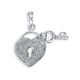 Heart & Key CZ Silver Pendant-PD164