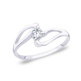 Lovely White CZ Silver Finger Ring-FRL054