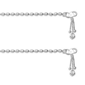 Dazzle Pearl Chain Silver Anklets-ANK054