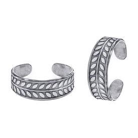 Oxidise Leaf Silver Toe Ring-TR416