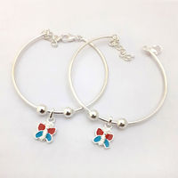 Colorful Butterfly Kids Silver Anklet-ANKK002