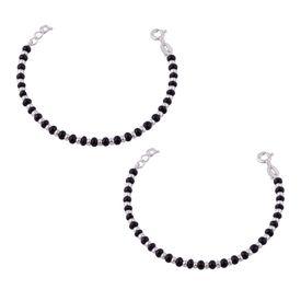 Silver & Black Beads Sterling Silver Kids Nazariya Bracelet- BRNZ008