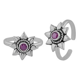 Maroon Star Silver Toe Ring-TRMX054